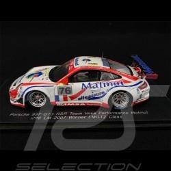 Porsche 911 GT3 RSR Type 997 n° 76 Klassensieger 24h Le Mans 2007 1/43 Spark S1903