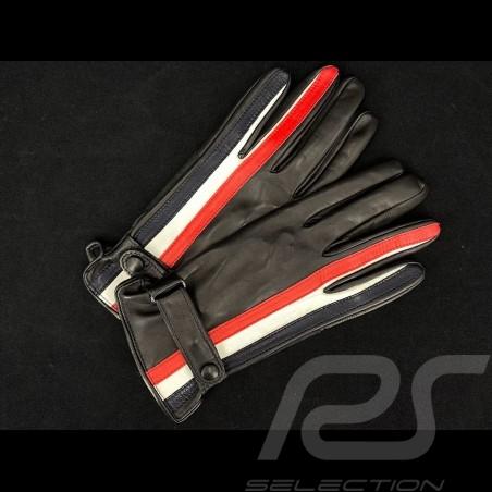 Gants de conduite Gulf Racing cuir noir Bande bicolore Driving Gloves Fahren Handschuhe