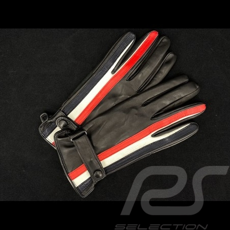 Gulf Racing Driving Gloves Black leather 2-color Stripes