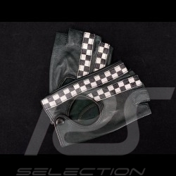 Driving Gloves fingerless mittens leather Racing Dark green / Black checkered flag