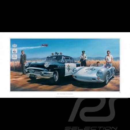 Affiche Poster Porsche 550 James Dean Cary Grant dessin drawing original de Benjamin Freudenthal
