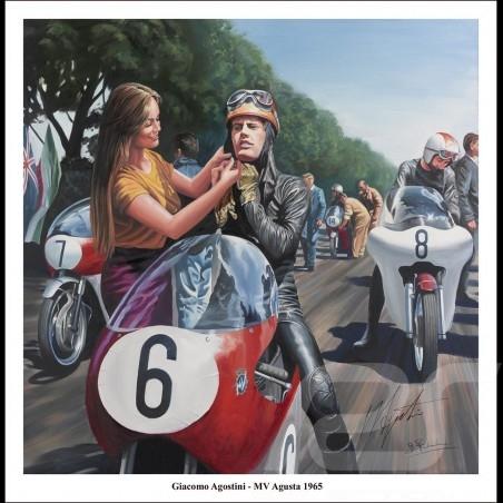 Affiche poster Giacomo Agostini Tourist Trophy 1965 dessin drawing original de Benjamin Freudenthal
