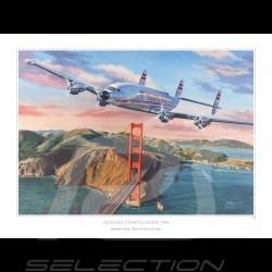 Affiche poster Lockheed Constellation San Francisco dessin drawing original de Benjamin Freudenthal