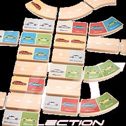 Jeu de dominos dominoes set game Porsche en bois multicolores WAP0400030NDOM