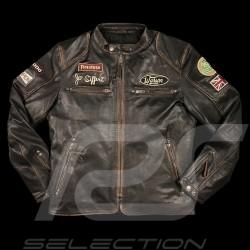 Leather jacket Jo Siffert Classic driver Dark brown aged - men