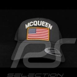 Casquette Steve McQueen Snapback Gris Orage Drapeau USA - homme
