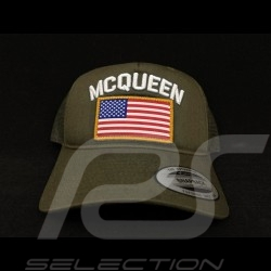 Casquette Steve McQueen Snapback Vert Kaki Drapeau USA - homme