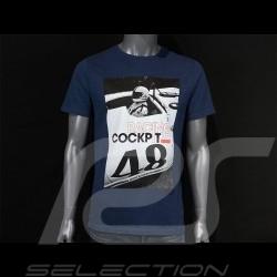 Steve McQueen T-shirt Porsche 908 Cockpit 48 Navy Blue Hero Seven - men