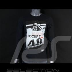 T-shirt Manches Longues Steve McQueen Porsche 908 Cockpit 48 Noir black schwarz Hero Seven - homme