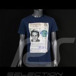 T-shirt Steve McQueen Driving License Bleu Marine blue blau Hero Seven - homme