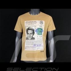 T-shirt Steve McQueen Driving License Jaune yellow gelb Hero Seven - homme