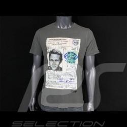 T-shirt Steve McQueen Driving License Gris grey grau Hero Seven - homme