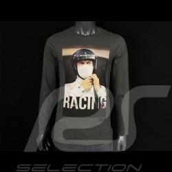 Steve McQueen Long Sleeves T-shirt Racing Le Mans Grey Hero Seven - Men