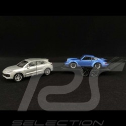 Pullback Set Porsche Cayenne Turbo with trailer and 911 Turbo 1/43 Welly MAP01093020