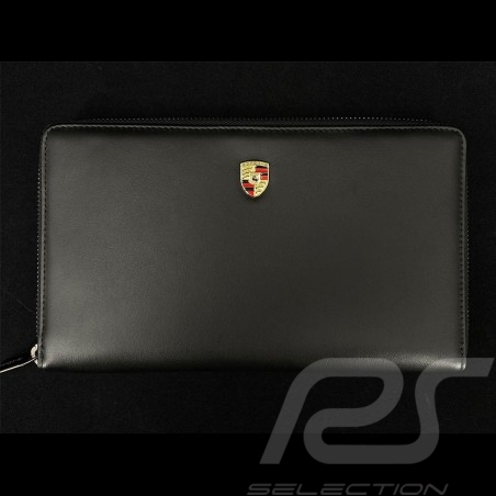 Porsche Geldbörse Reisebrieftasche Metallwappen  Schwarz Leder WAP0300300NKEG