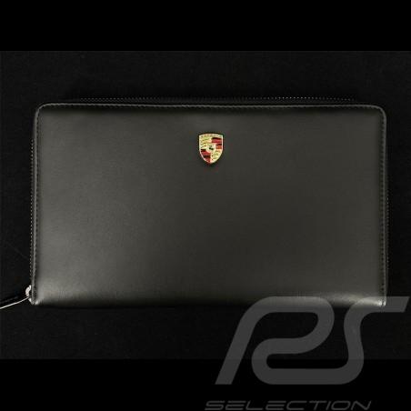 Porsche Travel Wallet Metal crest Black Leather WAP0300220NRBT