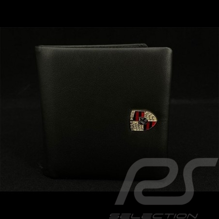 Porsche Wallet Credit card holder Metal crest With money cliip Black Leather WAP0300300NKEG