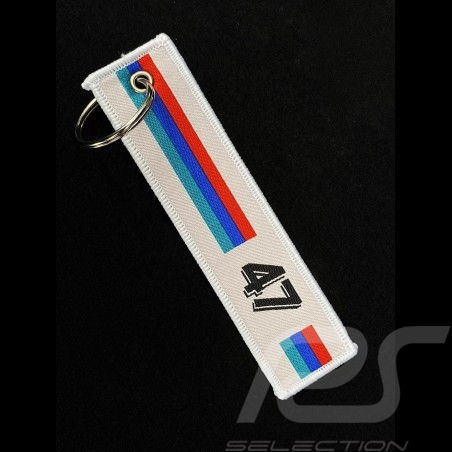 Keyring Selection RS n° 47 Racing White / Red Blue Turquoise Stripes